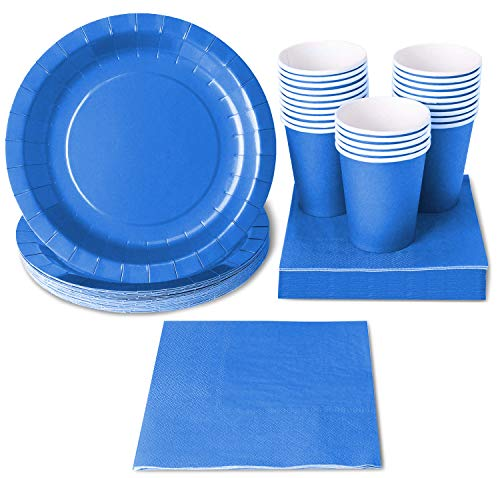 Blue Party Supplies - 24-Set Paper Tableware - Disposable Dinnerware set for 24 Guests, Including Paper Plates, Napkins and Cups, Blue