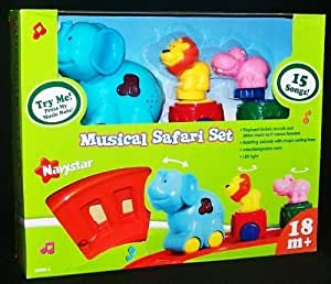 Safari Set Electronic Musical Light & Sound Animal Train with Oval Track