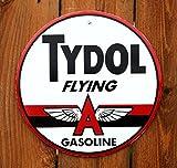 "Tydol Fyling A Gasoline 12"" Round Metal Sign"