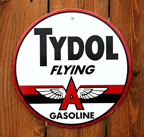 "Tydol Fyling A Gasoline 12"" Round Metal Sign"
