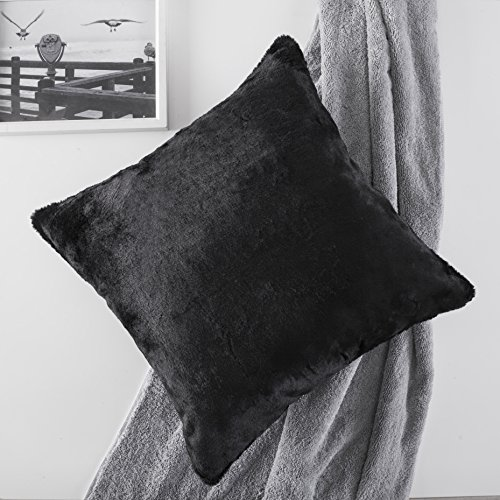 Home Brilliant Fluffy Mongolian Faux Fur/Suede Square Throw Pillow Covers Decorative Couch Cushion Cover, Pillow Not Included, 1 Pc, 45cm, - Suede Chenille Throw
