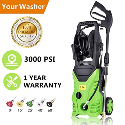 - Hurbo Electric High Pressure Washer 3000PSI 1.8GPM Power Pressure Washer Machine with Power Hose Gun Turbo Wand 5 Interchangeable Nozzles (US Stock)