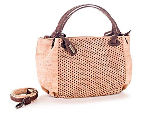 Artelusa Cork Top Handle Handbag Natural/Chocolate Adjust/Remov Strap Eco-Friendly Handmade in Portugal