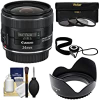 Canon EF 24mm f/2.8 IS USM Lens with 3 (UV/CPL/ND8) Filters + Lens Hood + Accessory Kit for EOS 6D, 70D, 5D Mark II III, Rebel T3, T3i, T4i, T5, T5i, SL1 DSLR Cameras