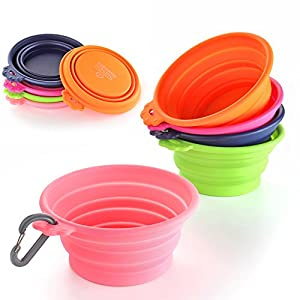 Flexzion Dog Collapsible Bowl Silicone Pop up Travel Feeder Pet Cat Puppy Animal Food Water Container Dish Portable with a Free Carabiner Clip Home Outdoor Use 118
