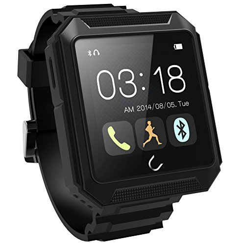 U Watch Uterra Ip68 Waterproof Shockproof Dustproof Bluetooth 4.0 Smartwatch Smart Watch IPS Screen for Iphone Ios Iphone 6 ,Iphone 6 Plus,iphone 5s/5c/5/4s and Samsung Galaxy Note 4/3,s5/s4,sony Xperia Z3/z2,htc ONE M8 Android Smartphones (black)