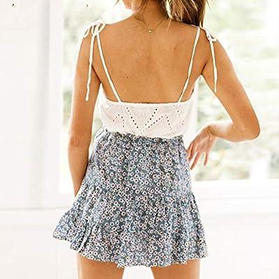 DAHDXD Verano Plisado Mini Faldas para Mujer de Cintura Alta ...