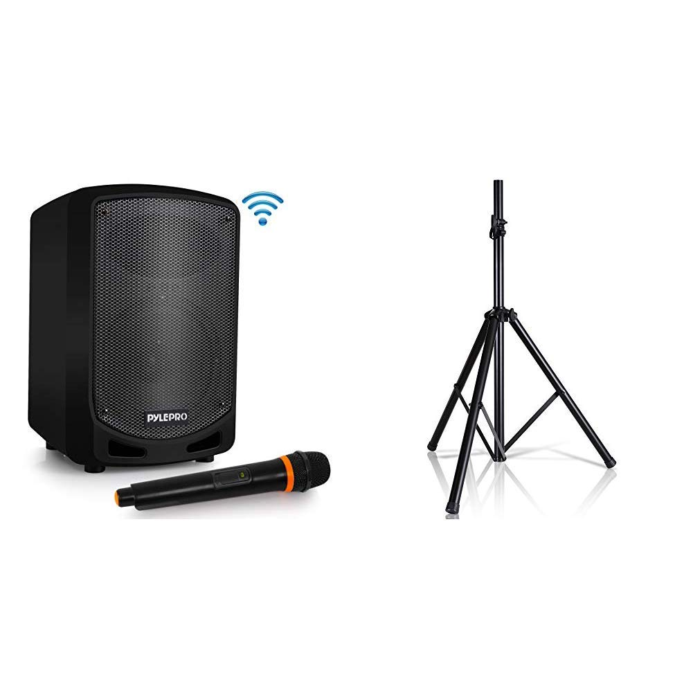 Pyle Bluetooth Karaoke PA Speaker - Indoor / Outdoor Portable Sound System with Wireless Mic, Audio Recording, Rechargeable Battery, USB / SD Reader & Universal Speaker Stand Mount Holder