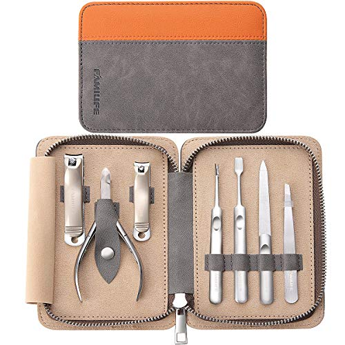 FAMILIFE Manicure Set, 7 in 1 Professional Manicure Pedicure Set Nail Clipper Set, Stainless Steel Professional Grooming Kit with Gray Leather Portable Travel Nail Clipper Set for Men Father