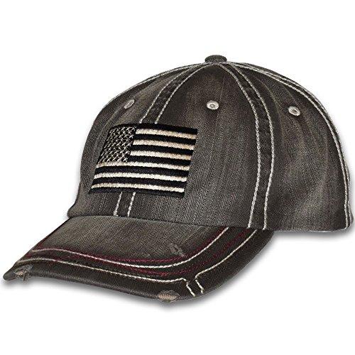 American Flag Distressed Vintage Patriotic Cap, Black