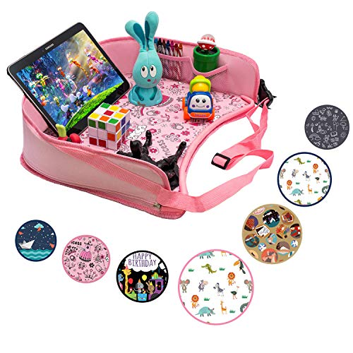 Buy DMoose Kids Travel Activity Tray – Non-Flimsy, Tablet Holder, Strong Buckles, Sturdy Side Wall...