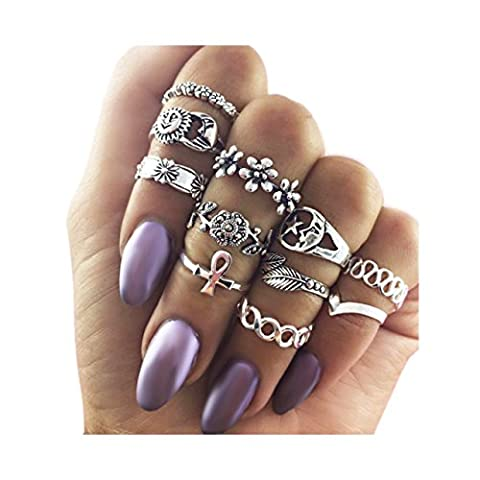 Zealmer Knuckle Ring Set Retro Silver Set Of Rings Sun Moon Flower Leaves Statement Stacking Band Ring (Boho Rings Silver)