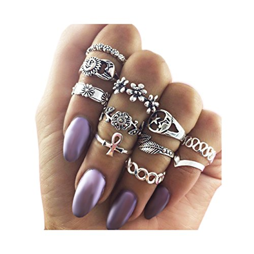 Zealmer Knuckle Ring Set Retro Silver Set Of Rings Sun Moon Flower Leaves Statement Stacking Band Ring Set (Stacking Ring)