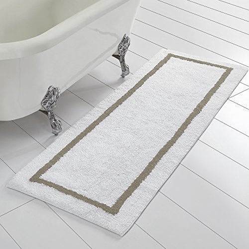 (Amrapur Overseas Reversible Contrast Stripe Bath Runner (22-inch by 60-inch), Taupe)