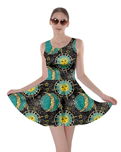 [CowCow Womens Turquoise Astrology Skater Dress, Turquoise - S] (Magic School Bus Costume)