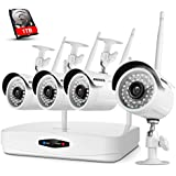ANNKE HD 960p NVR Wireless Security Camera System with 1TB HDD and (4) 1.0 Megapixel Wifi Outdoor IP Cameras with 36 IR Leds, 100ft Night Vision, Motion Detetion and Remote Access