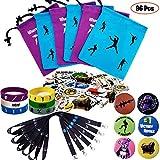 Gaming Party Supplies Set - 96 Pack Video Game Birthday Party favors set, Reusable Nylon Drawstring Gift Bags, Gaming Lanyards, Pin Badges, Bracelets & Gamer Stickers