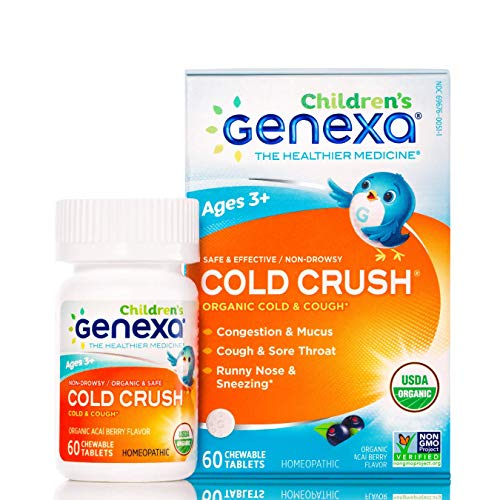 Genexa Cold Crush for Children  60 Tablets | Certified Organic amp NonGMO Physician Formulated Homeopathic | Cough amp Cold Medicine for Children