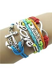 Doinshop New Useful Cute Nice Colorful Infinity Friendship Love Anchor Leather Charm Bracelet DIY