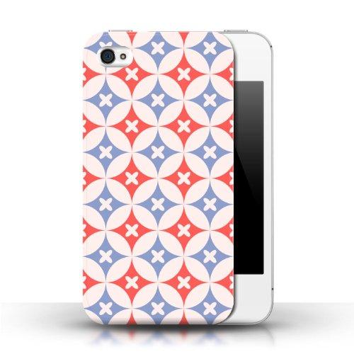 iCHOOSE Print Motif Coque de protection Case / Plastique manchon de telephone Coque pour Apple iPhone 4/4S / Collection Kaléidoscope / Rouge / Bleu