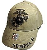 (US) EagleEmblems United States Marine Logo Eagle Subdued Hat Cap USMC Tan One Size