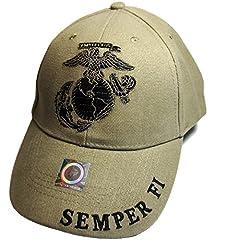 EagleEmblems United States Marine Logo Eagle Subdued Hat Cap USMC Tan One Size Made in China. Ships from USA.