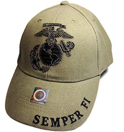 (EagleEmblems United States Marine Logo Eagle Subdued Hat Cap USMC Tan One Size)