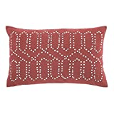 French Knot Pattern Pillow in Coral - Set of 4