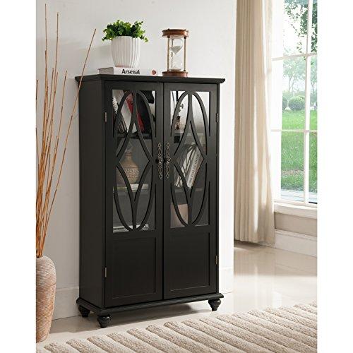 K and B Furniture Co Inc Black Wood Curio Cabinet