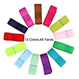 Candygirl Boutique Grosgrain Ribbon Value Pack (65 yards 1'' Solid Grossgrain(13 colorsx5yard))