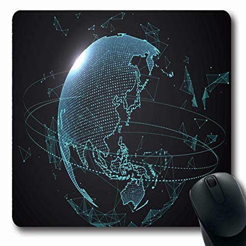Ahawoso Mousepads for Computers Global Blue Asia Futuristic Globalizatiterface Sense Science Technology Globe Map Innovation Design Oblong Shape 7.9 x 9.5 Inches Non-Slip Oblong Gaming Mouse Pad