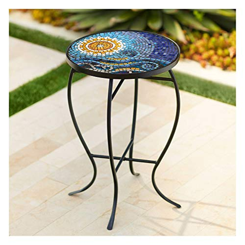 (Teal Island Designs Ocean Mosaic Black Iron Outdoor Accent Table)