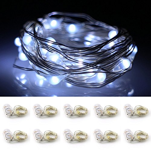 LXS Battery Operated Fairy Lights 10 Sets of 2M /20 LED,Amazingly Bright - Ultra-thin Flexible Easy to Wrap Silver Wire For Halloween Christmas Wedding Party,Fairy Light Effect(10PCS-Pure White)