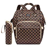 Ibeacos Diaper Bag Backpack Baby Diaper Backpack Convertible Travel Tote Diaper Bag PU Leather Waterproof Nappy Bag Large Capacity Baby Bag with Changing Pad, Insulated Feeding Bottle Bag (Brown)