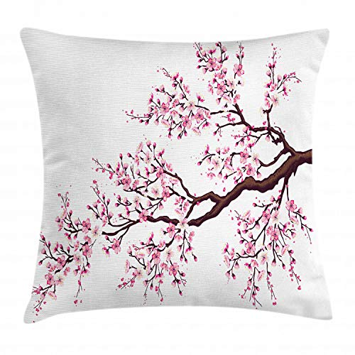 Ambesonne Japanese Throw Pillow Cushion Cover, Branch of a Flourishing Sakura Tree Flowers Cherry Blossoms Spring Theme Art, Decorative Square Accent Pillow Case, 24