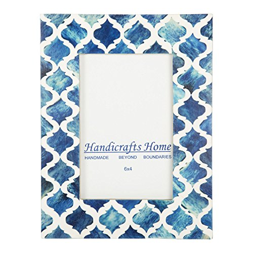 Picture Photo Frame Moorish Damask Moroccan Arts Inspired Handmade Naturals Bone Frames Photo Size 4x6 & 5X7 Inches (5X7, Blue & White) (7 Inch Bone)