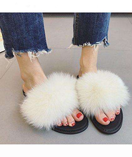 0242b1ae6131 Amazon.com  Real Fox Fluffy Flip Flops Fashion Plush Pom Pom Women Flip-Flop  Slipper Sandals White  Handmade