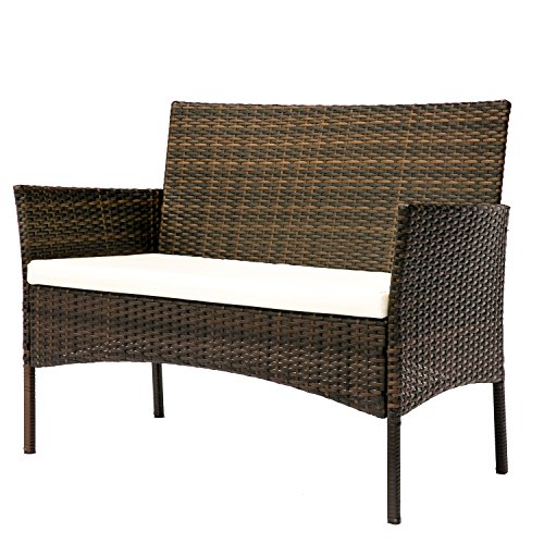 HANs Outdoor Rattan Furniture Sets 4PC Wicker Patio Furniture with Cushioned Seats by HANs (Image #2)