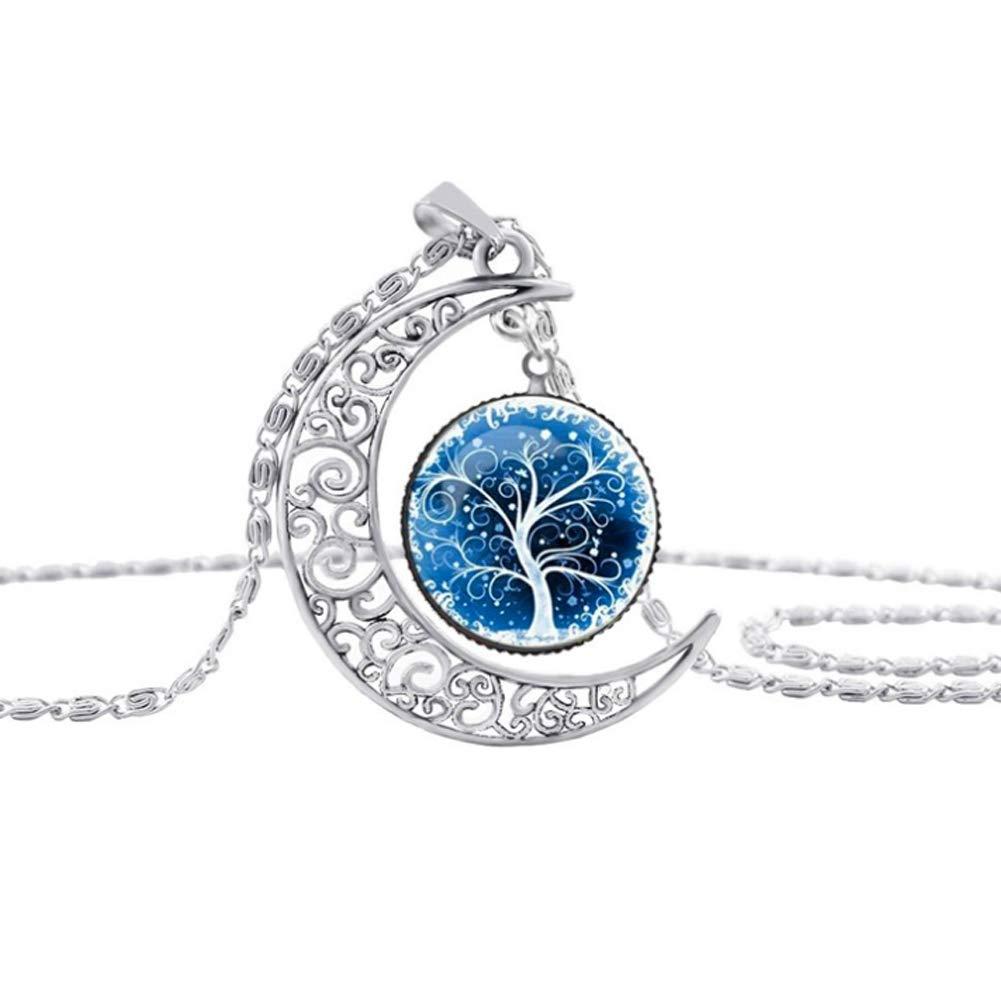 YaptheS Falling Moon Pendant Necklace Time Gemstone Life Tree Moon Necklace Pendant Fashion Jewelry Choker Necklace 1pc Clothing