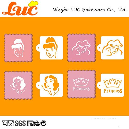 1 piece LUC Stencils Large Size 9-inch Princess Famous Film Character Beard Design Cake Stencil Set Template -
