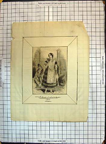 Espagne Costumes Images - Old Original Antique Victorian Print Spanish Lady