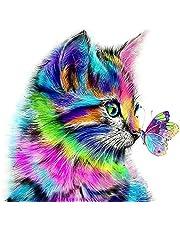 AmzKoi Diamantschilderset, doe-het-zelf 5D Diamond Painting Set kat, schilderen op nummer, diamant, schilderijen kunst handwerk voor thuis, muurdecoratie, 30 x 30 cm