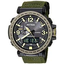 Casio Men's 'Pro Trek' Quartz Resin and Cloth Casual Watch, Color: Green (Model: PRG600YB-3CR)