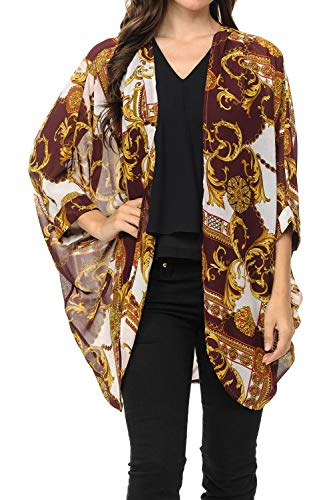 Auliné Collection Womens USA Made Casual Cover Up Cape Gown Robe Cardigan Kimono SLFBW1 Baroque Burgundy XL