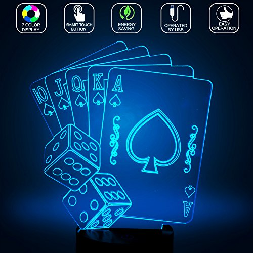 Casino Poker Dice 3D Lamp, Optical Illusion Night Light for Club / Decor / Bedroom, 7 Colors Changing Cards Sign Toys and Gifts for Kids / Birthday by YKL WORLD (Casino Poker Girl)