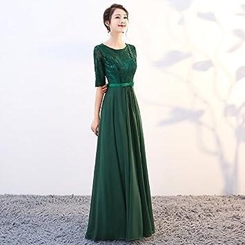 JKJHAH Vestidos De Noche para Mujer Coro Elegante Vestidos De Fiesta, Verde Oscuro, S