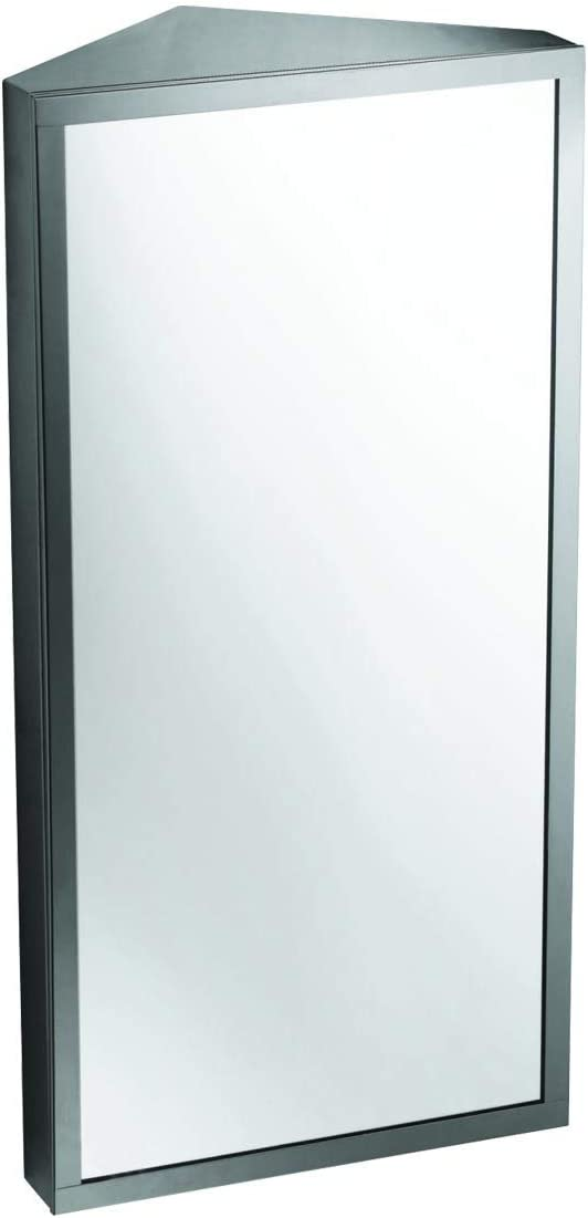 Renovator s Supply Wall Mount Corner Medicine Cabinet with Mirror Brushed Stainless Steel