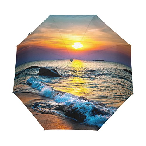JSTEL Colorful Sunset Over The Sea Windproof UV Umbrellas Auto Open Close 3 Folding Golf Strong Durable Compact Travel Sun Umbrella, Portable Lightweight Easy Carrying (Sunset Beige Paint Color)