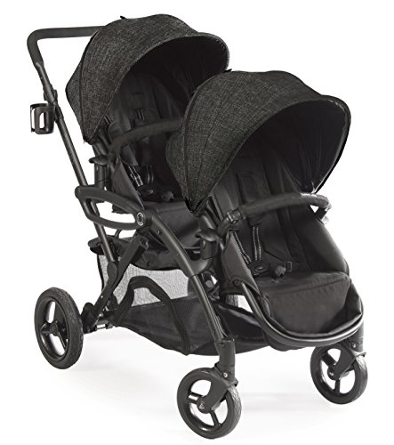 Contours Options Elite Tandem Double Toddler & Baby Stroller, Multiple Seating Configurations, Reclining Seats, Lightweight Frame, Car Seat Compatibility, Large Storage Basket, Carbon Gray ()
