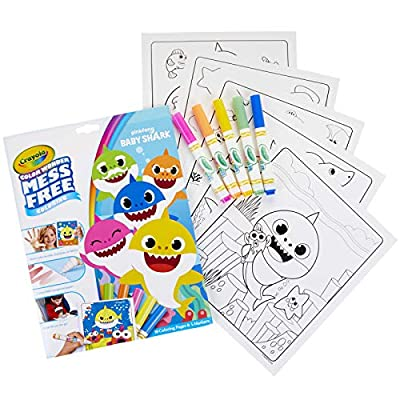 Crayola 757103 Baby Shark Wonder Pages Mess Free Coloring Gift, Kids Indoor Activities at Home: Toys & Games